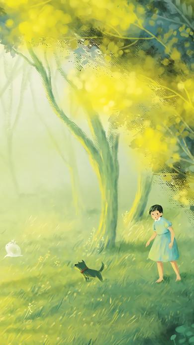 插画 女孩 野外 树林