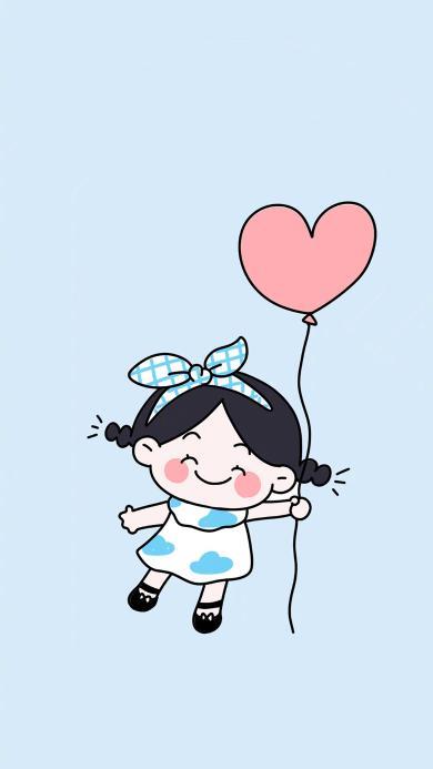可爱 女孩 插画 爱心