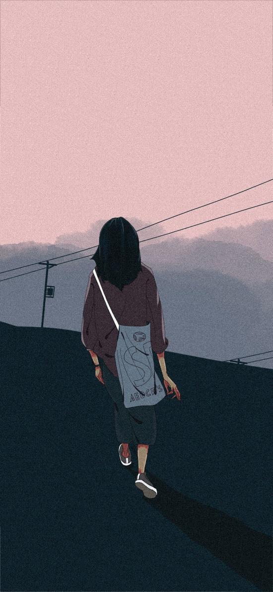 插画 女孩 背影 挎包(取自站酷网:chu麋鹿)