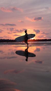 冲浪 夕阳 渐变 天空 倒映