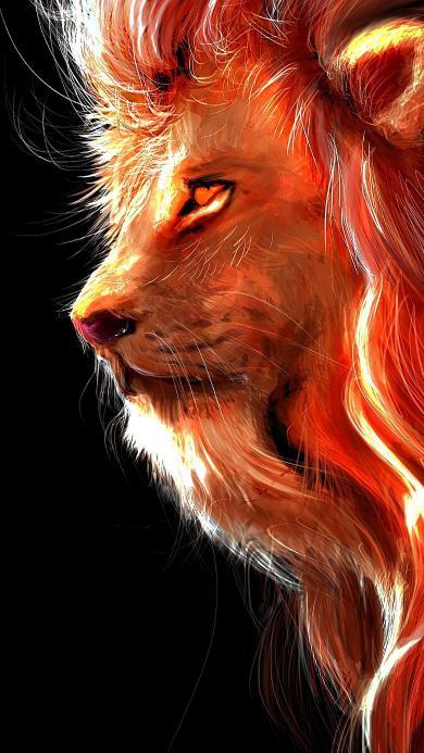 狮子 插画 绘画 线条