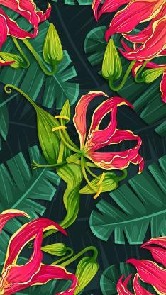 彩绘 色彩 鲜花 绿叶 插画