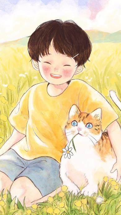 插画 男孩 橘猫 肥猫 花田