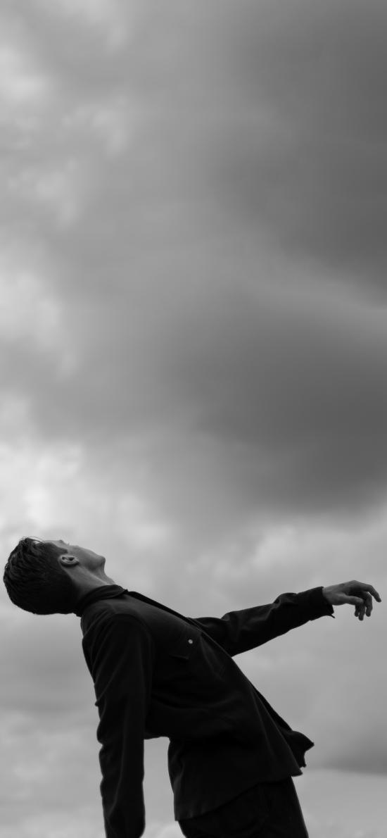 型男 写真 凹造型 黑白