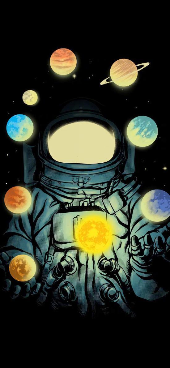 宇航 星球 星系 卡通