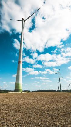 风车 风力发电机 广阔 天空