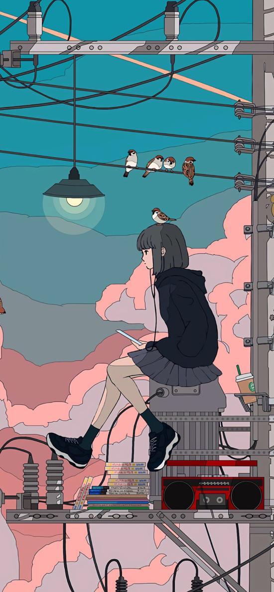 少女 插图 场景 电线杆 飞鸟