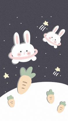 卡通 插图 兔子 萝卜