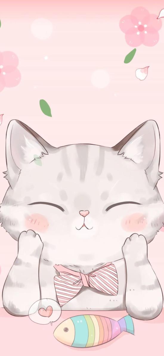 猫咪 可爱 粉 闭眼 动漫 拟人