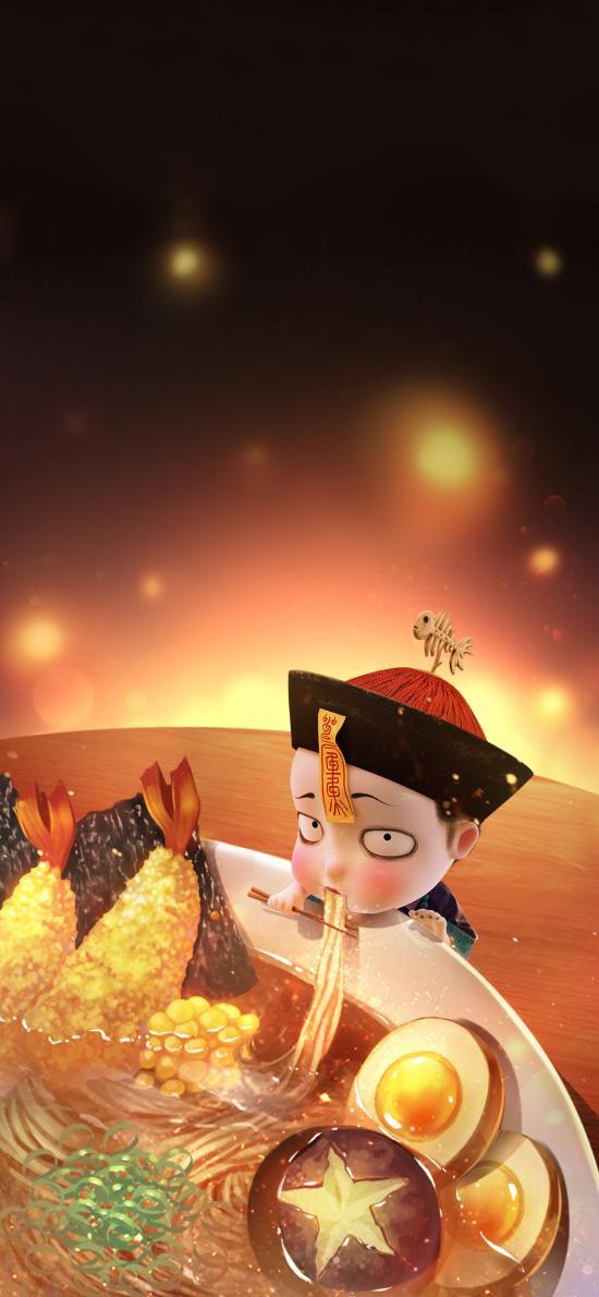3D 僵小鱼 吃面 可爱