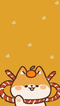 柴犬 黄 可爱 绘画  大吉
