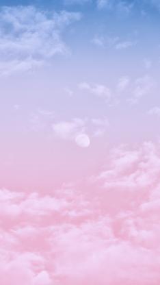 唯美 渐变 粉 月亮