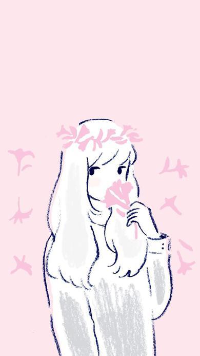 绘画 女孩 简约 粉