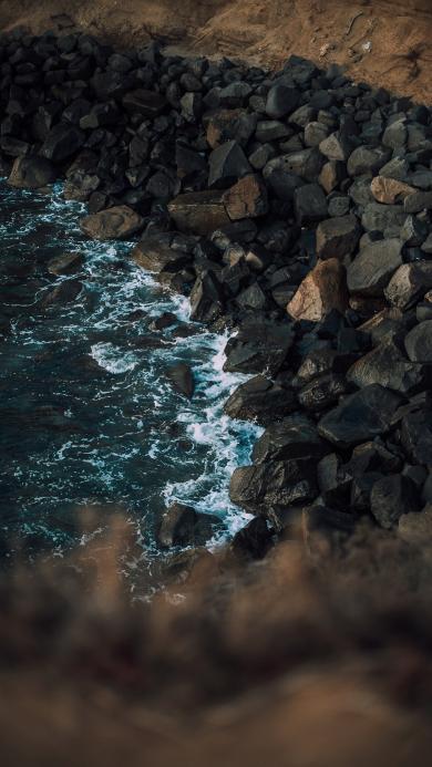 海岸 海浪 大石 浪花