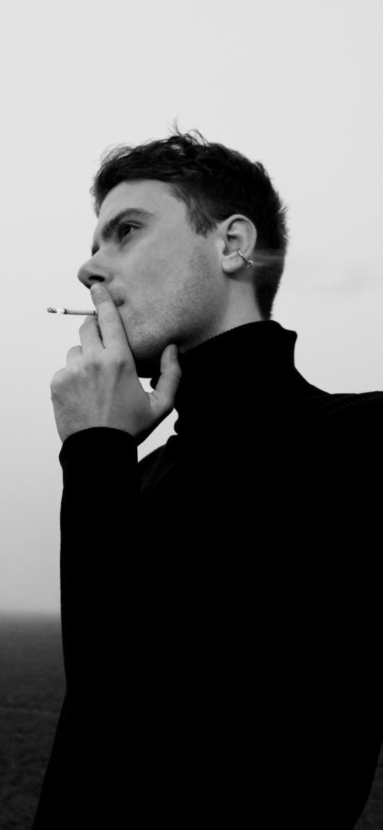 欧美 型男 黑白 写真 抽烟