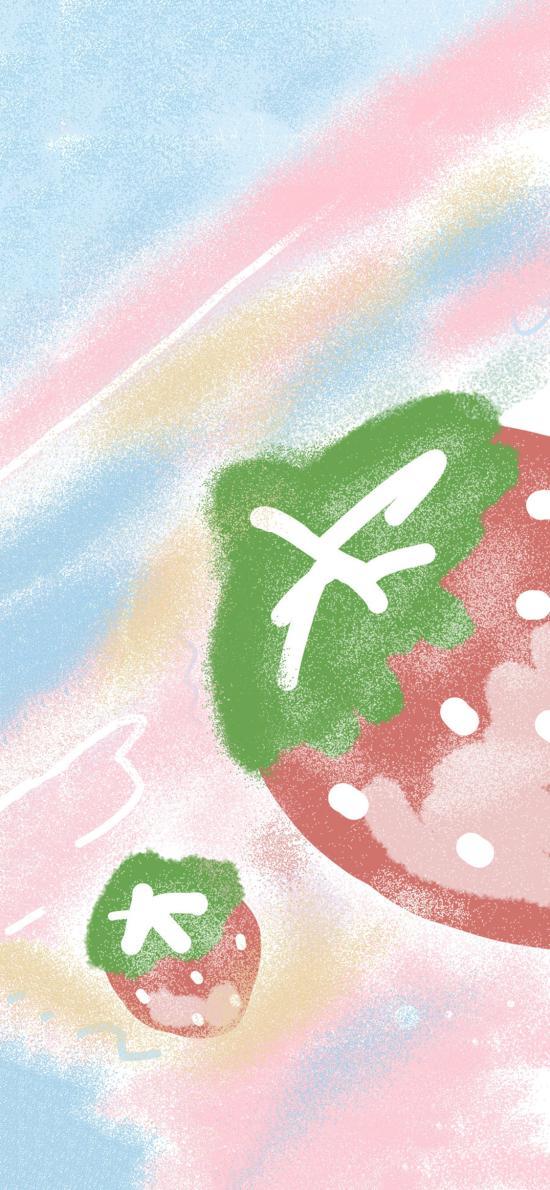 草莓 插画 彩虹 色彩