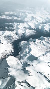 群山 雪顶 雪季 航拍