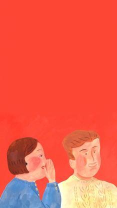 红色背景 情侣 插画 悄悄话