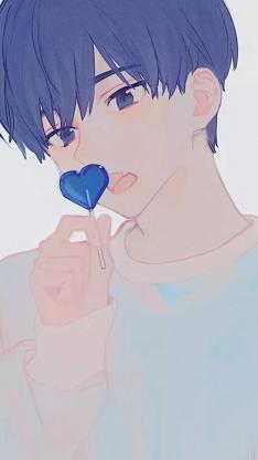 动漫少男 二次元 糖果 蓝色 爱心