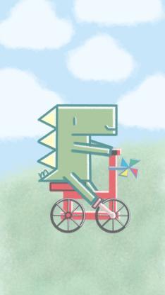 卡通 插图 蓝天 小恐龙 骑车