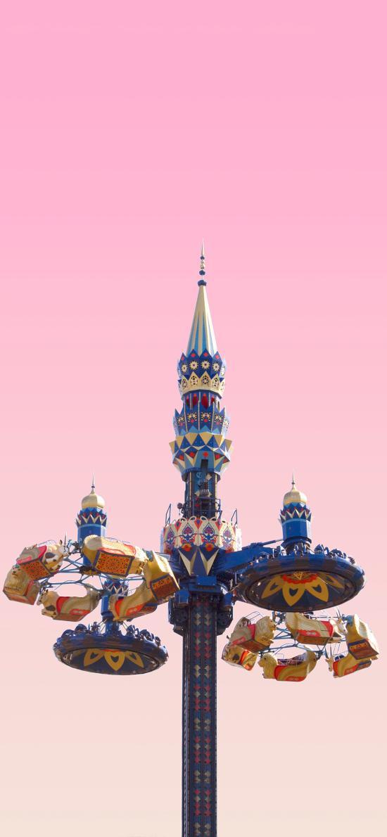 游乐园 设施 旋转飞椅 粉色天空