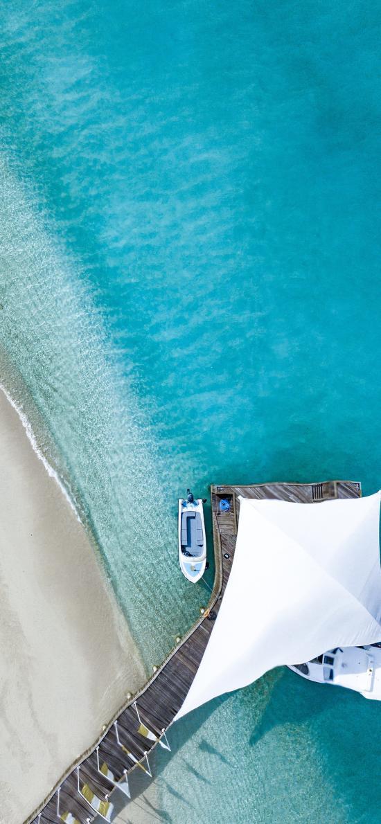 大海 蔚蓝 船只 桥