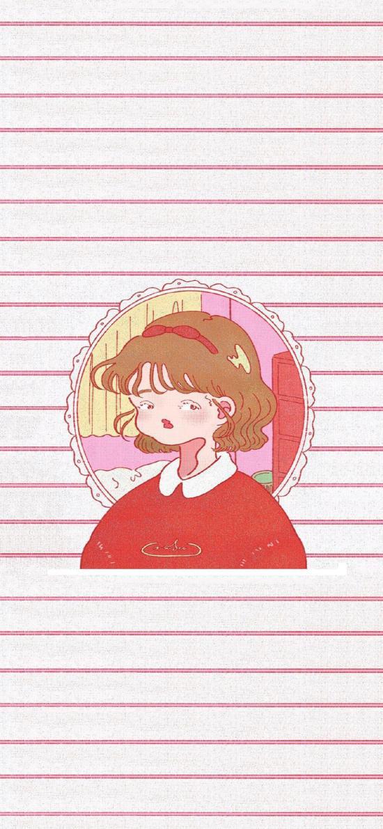 线条 女孩 插图 可爱 短发