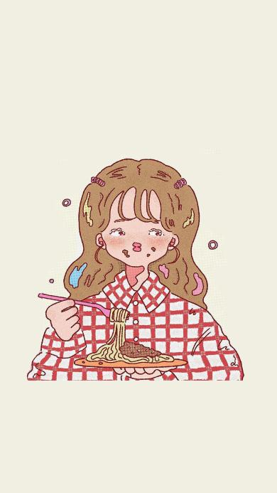绘画 女孩 意面 吃食