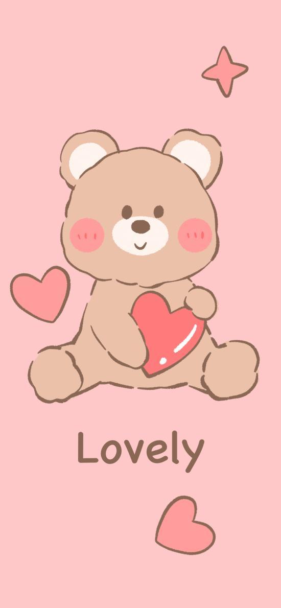 粉色背景 卡通 小熊 lovely(取自微博:Seoulanchic)