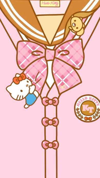 可爱 粉 hello Kitty 衣领