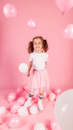 女孩 粉 气球 欧美