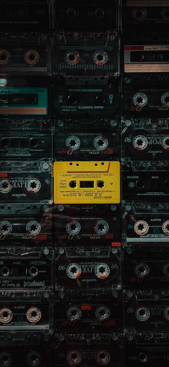 磁带 录音盘 密集 平铺