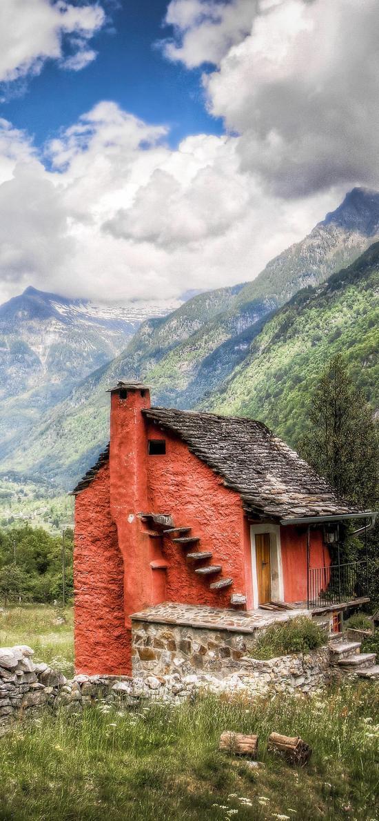 郊外 天空 唯美 房屋 建筑 群山
