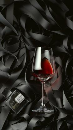 黑色背景 丝带 高脚杯 红酒 香水