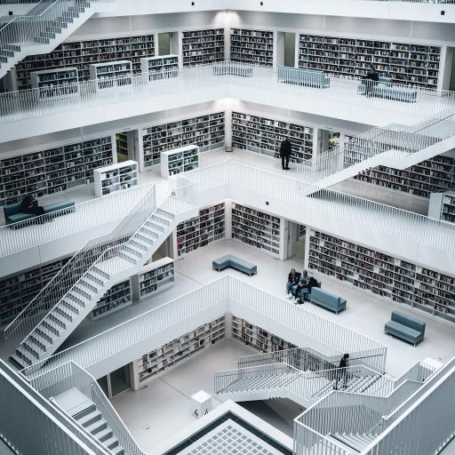 室内 图书馆 藏书室 阶梯 楼层