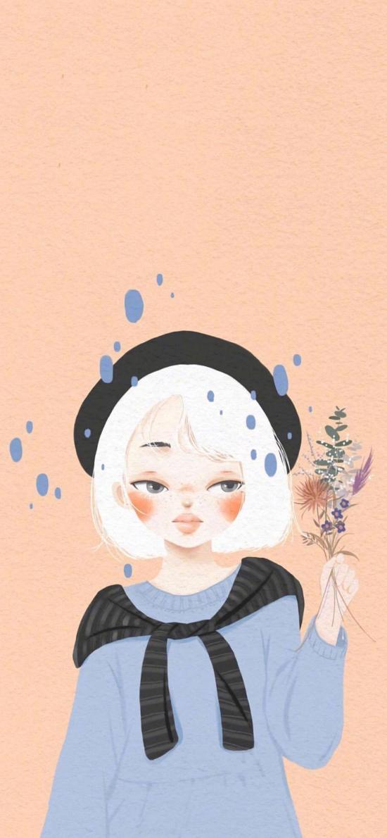 纯色背景 女孩 插画 文艺 系列