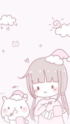 卡通 女孩 猫咪 萌物 粉色 少女心