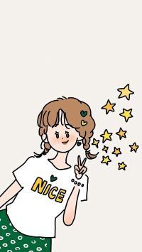 绘画 女孩 可爱 nice 五角星