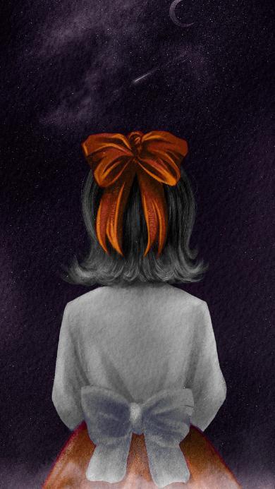 绘画 插画 女孩 背影