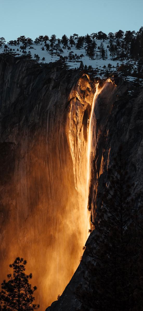 山峰 自然 岩浆 树木