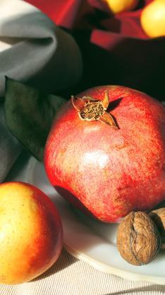 水果 新鲜 石榴 核桃 苹果