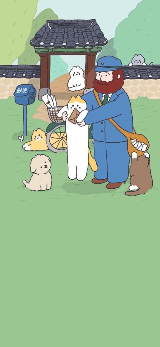 插图 有茶 猫咪 小狗