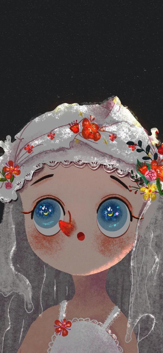 娃娃 插画 大眼 萌 色彩