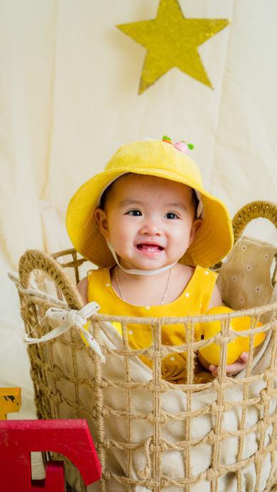 小孩 可爱 艺术照 编织篮