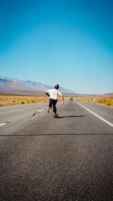 道路 蓝天 滑板 休闲