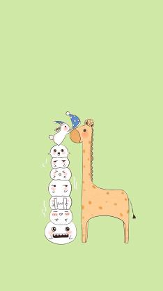 绿色背景 卡通 长颈鹿 兔子 戴帽子