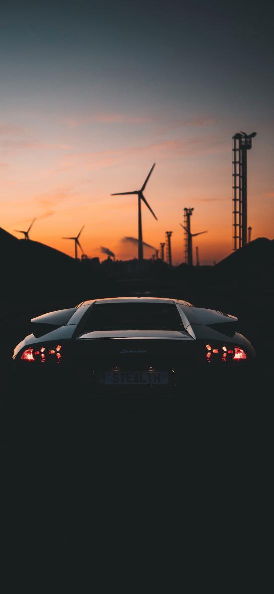 风力发电 跑车 黑色 车灯