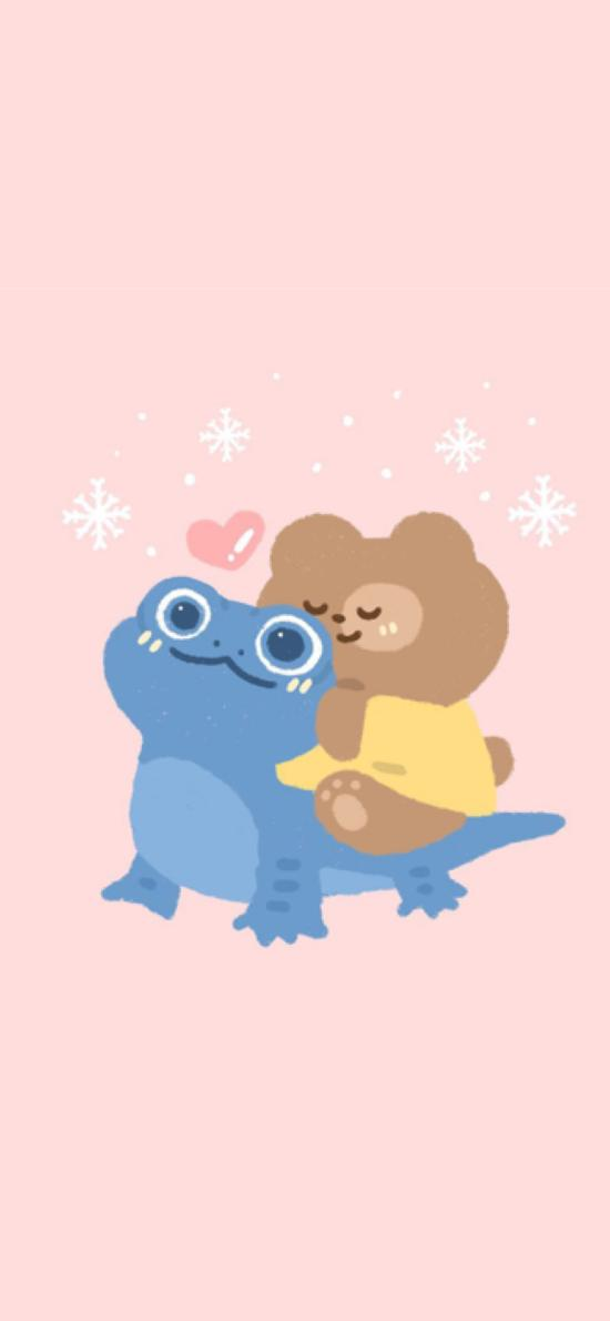 粉色背景 卡通 小熊 恐龙 蓝色