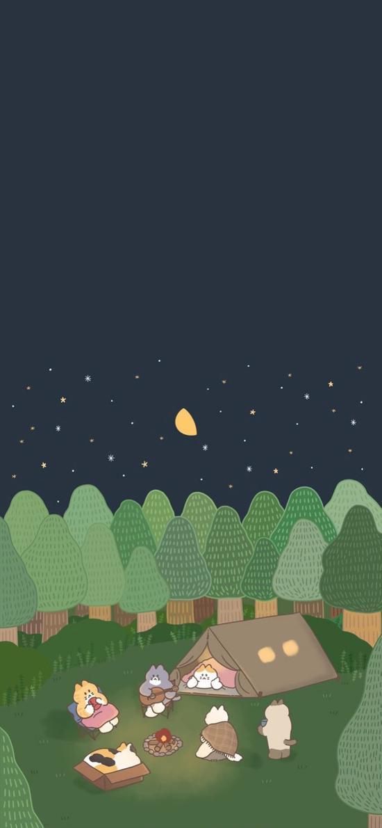 插图 猫咪 篝火 晚会