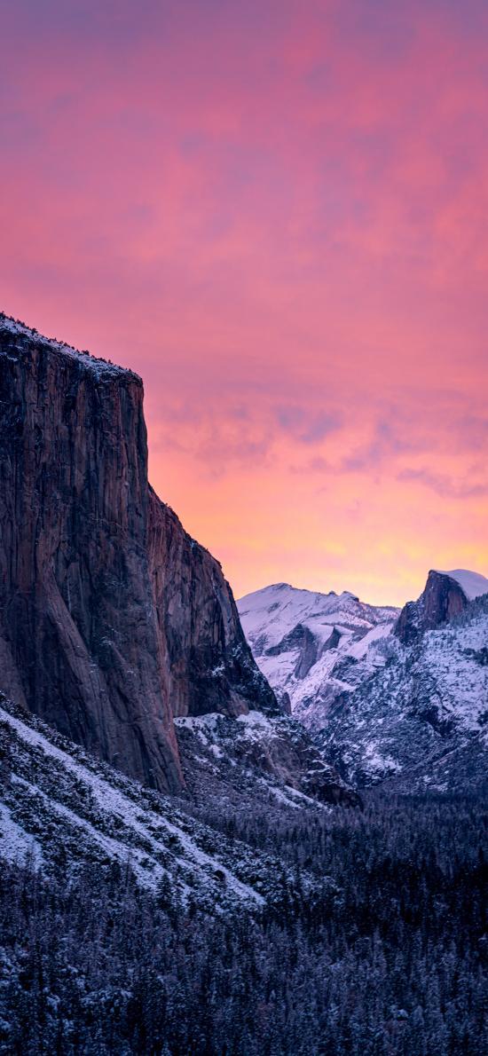 自然 山峰 晚霞 美景